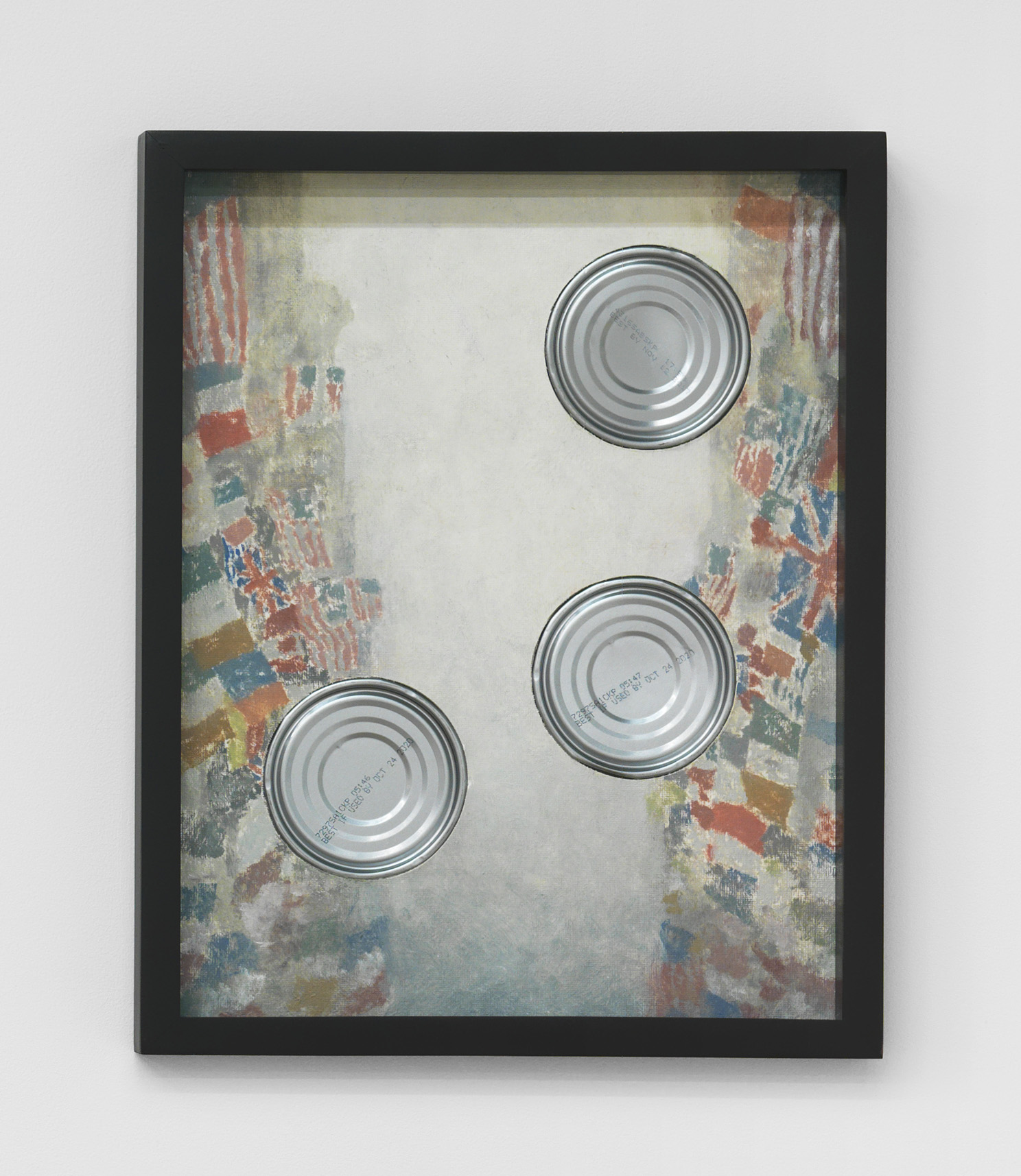 Alex Kwartler, Celebration! (After Childe Hassam), 2018, oil on canvas board, aluminum can, 14h x 11w in.