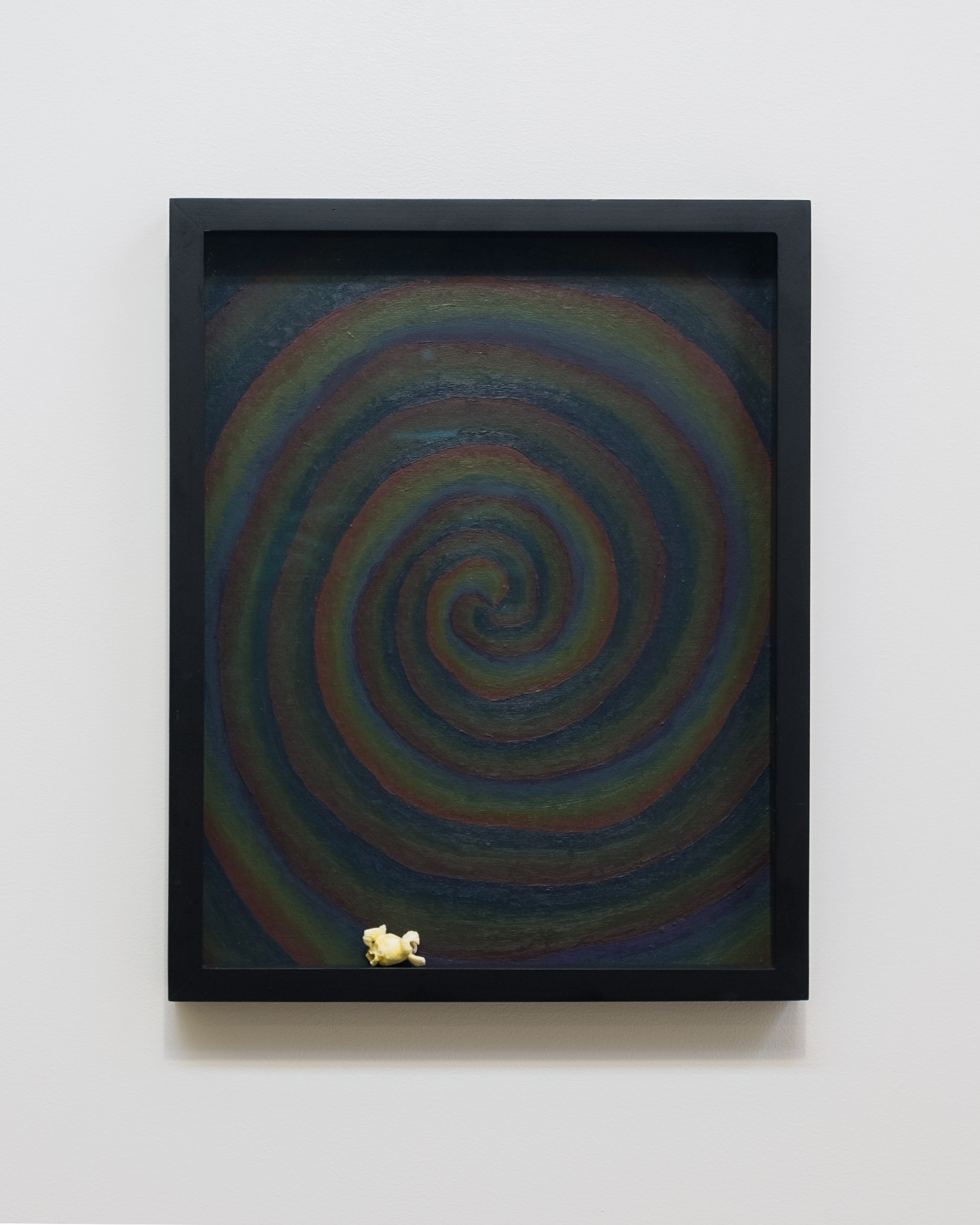 Alex Kwartler, Unititled (with popcorn), 2018, oil on canvas board, popcorn, 14h x 11w in.