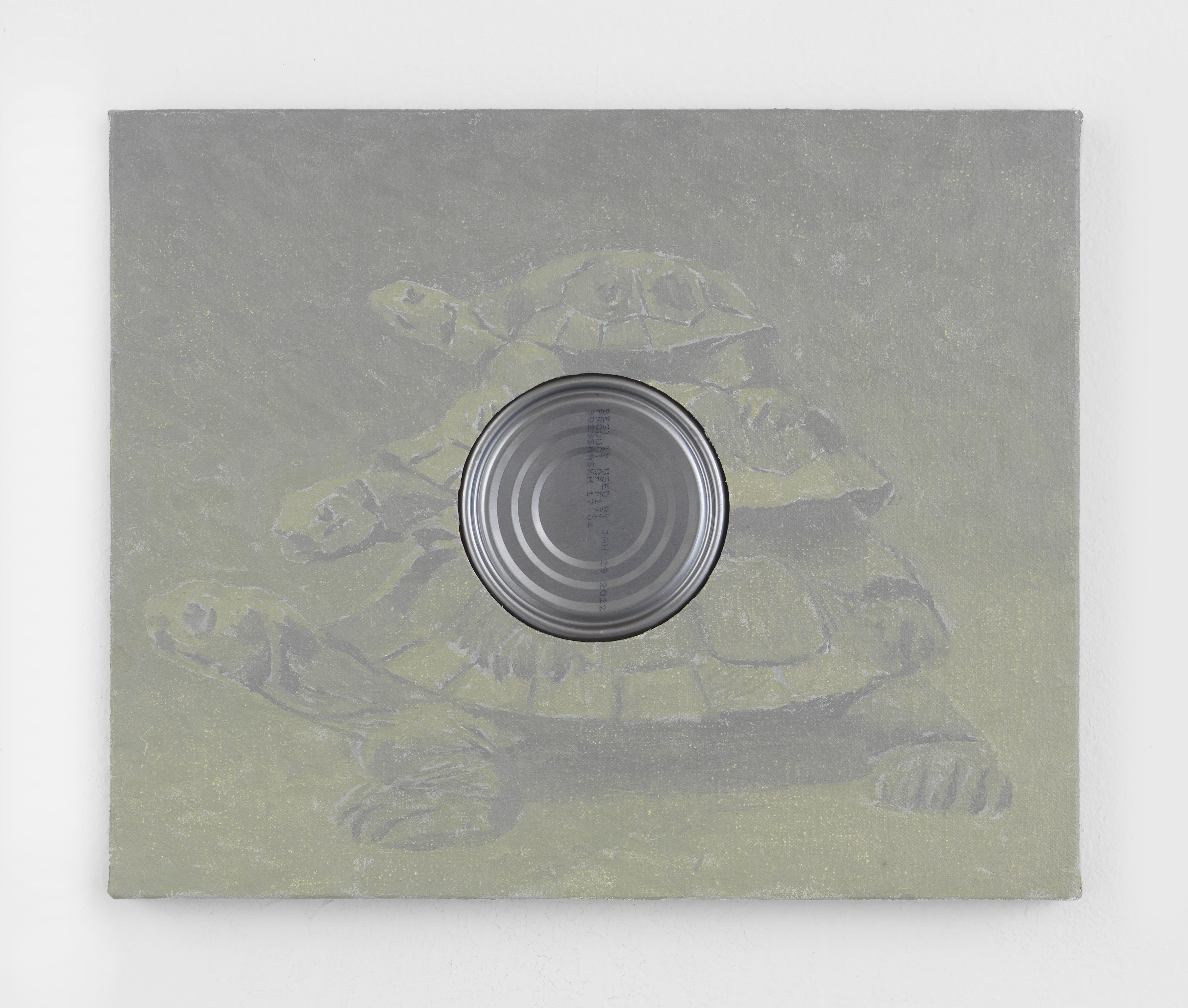 Alex Kwartler, Infinite regress (with tuna), 2021, Oil on linen with tin can, 10h x 12w in.
