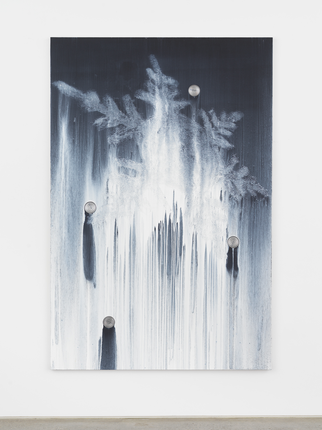 Alex Kwartler, White Snowflake (with tuna), 2019, Oil and pumice on linen with aluminum can, 72h x 48w in.