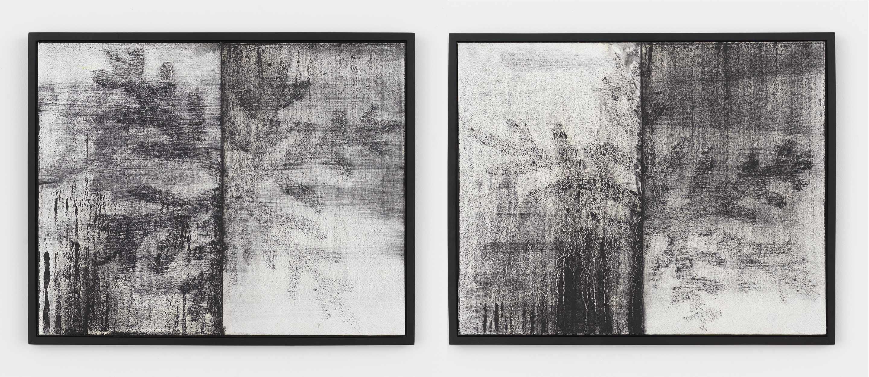 Alex Kwartler, Snowflake (divided) 1, 2018, Oil and pumice on canvas board, 16h x 20w in. (Left) and Snowflake (divided) 2, 2018, Oil and pumice on canvas board, 16h x 20w in.