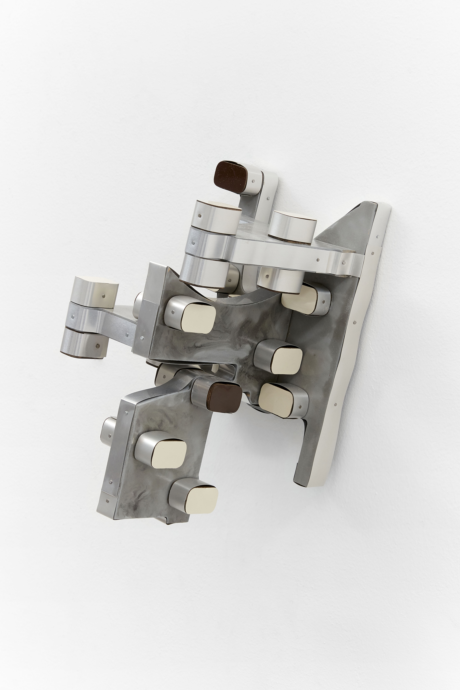 Anne Libby, 1NR, 2020, Aluminum Venetian blinds, Formica, plywood, pigmented Urethane, 10h x 9w x 8d in.