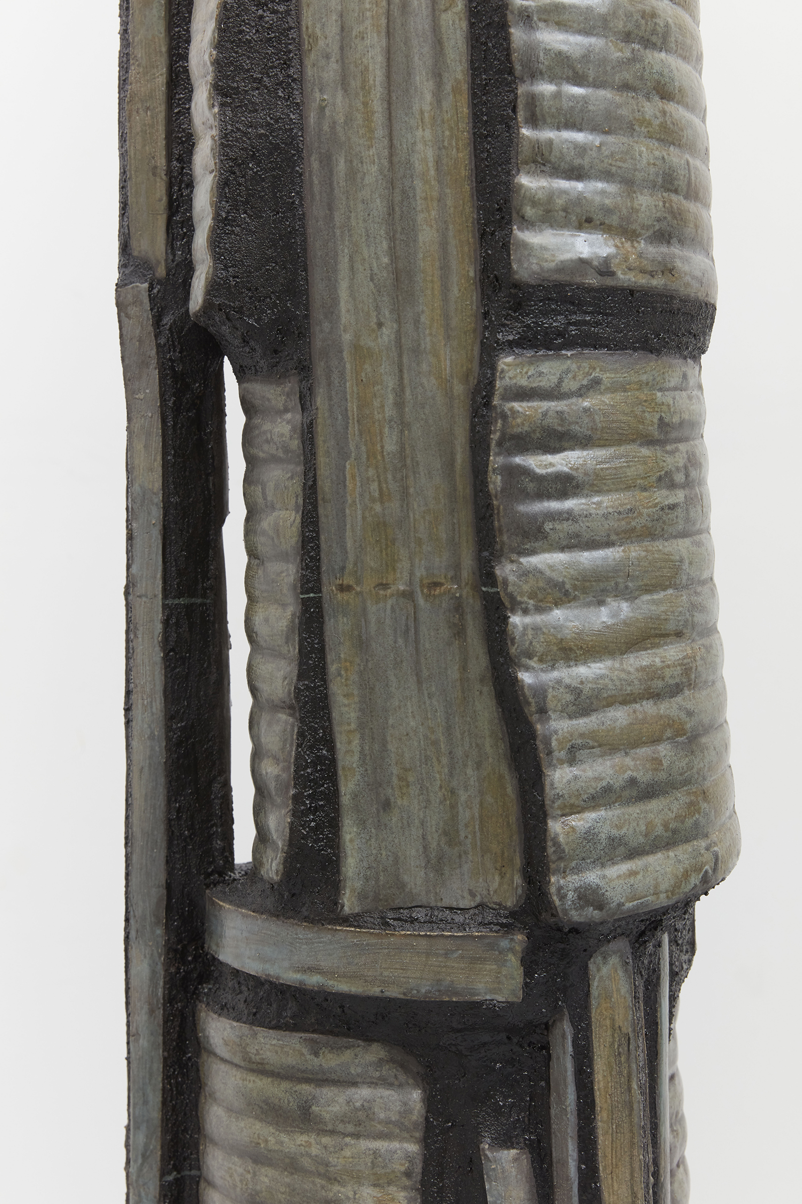 Anne Libby, Leaf Lift (detail), 2020, glazed ceramic, steel, sanded grout, 72.25h x 12w x 12d in.