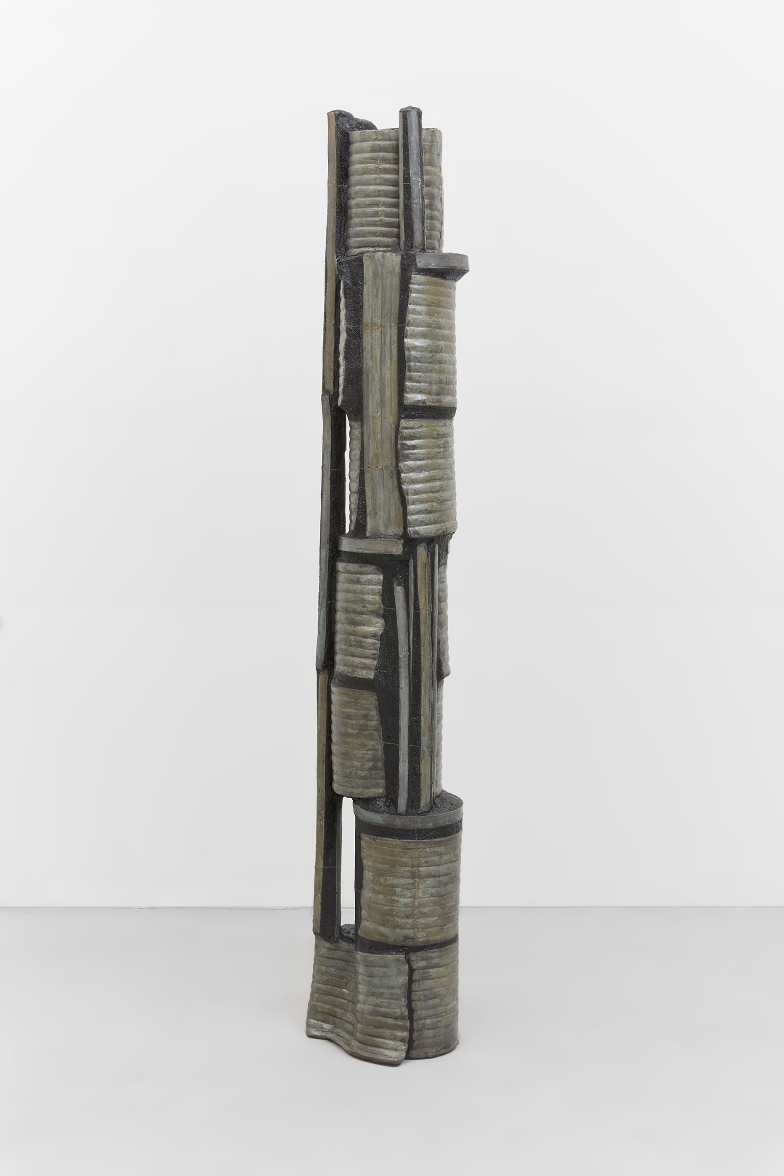 Anne Libby, Leaf Lift, 2020, glazed ceramic, steel, sanded grout, 72.25h x 12w x 12d in.