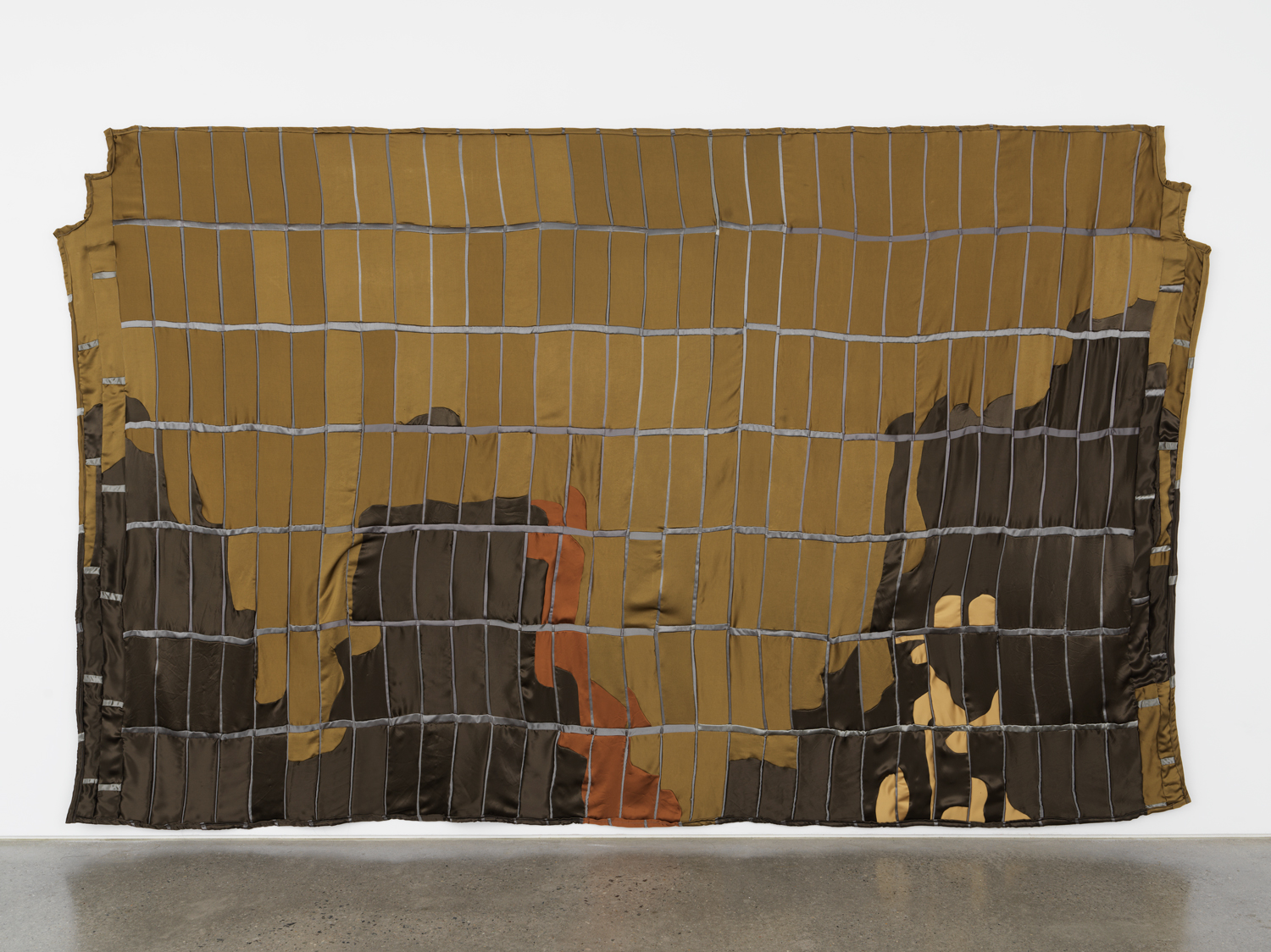 Anne Libby, Sunset Gates, 2018, polyester satin, batting, 80.50h x 129w in.