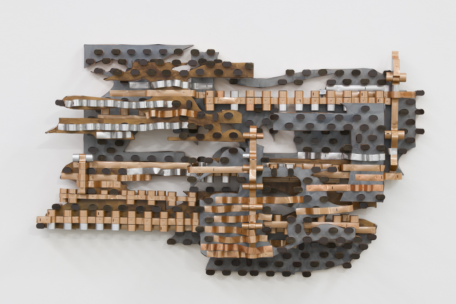Anne Libby, Solar Medicine, 2018, plywood, formica, copper pipe, 37h x 61w x 13d in.