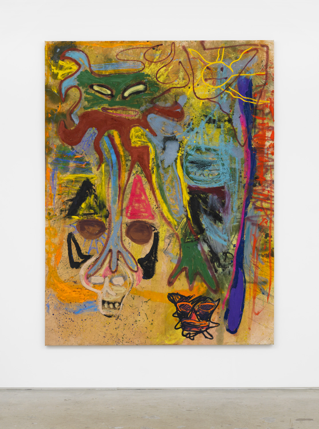 Bill Saylor, Helio, 2018, oil, flashe, oil stick, spray paint on canvas, 84h x 63w in.