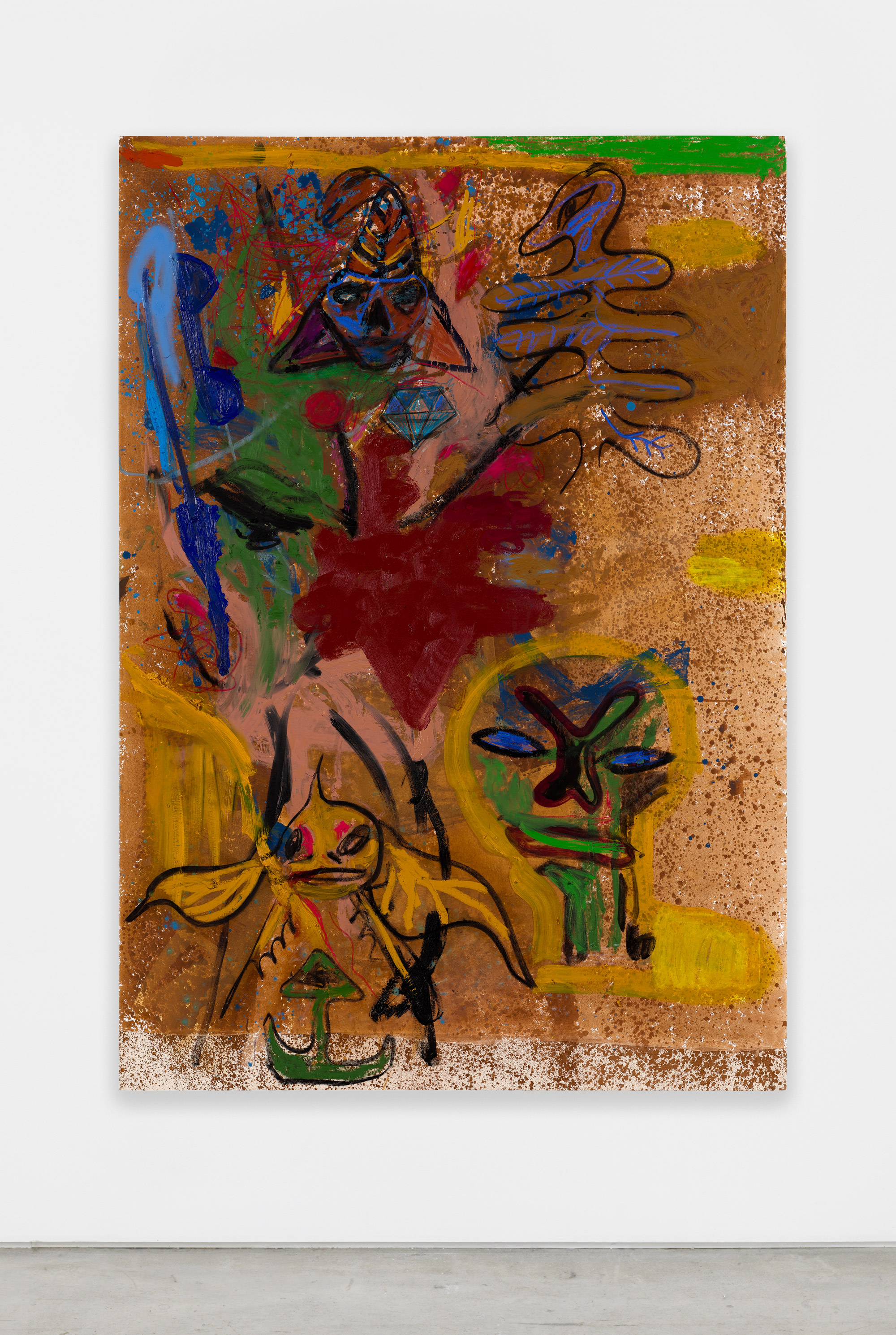 Bill Saylor, Untitled, 2017, oil, flashe, charcoal, spray paint on canvas, 90h x 64w in.