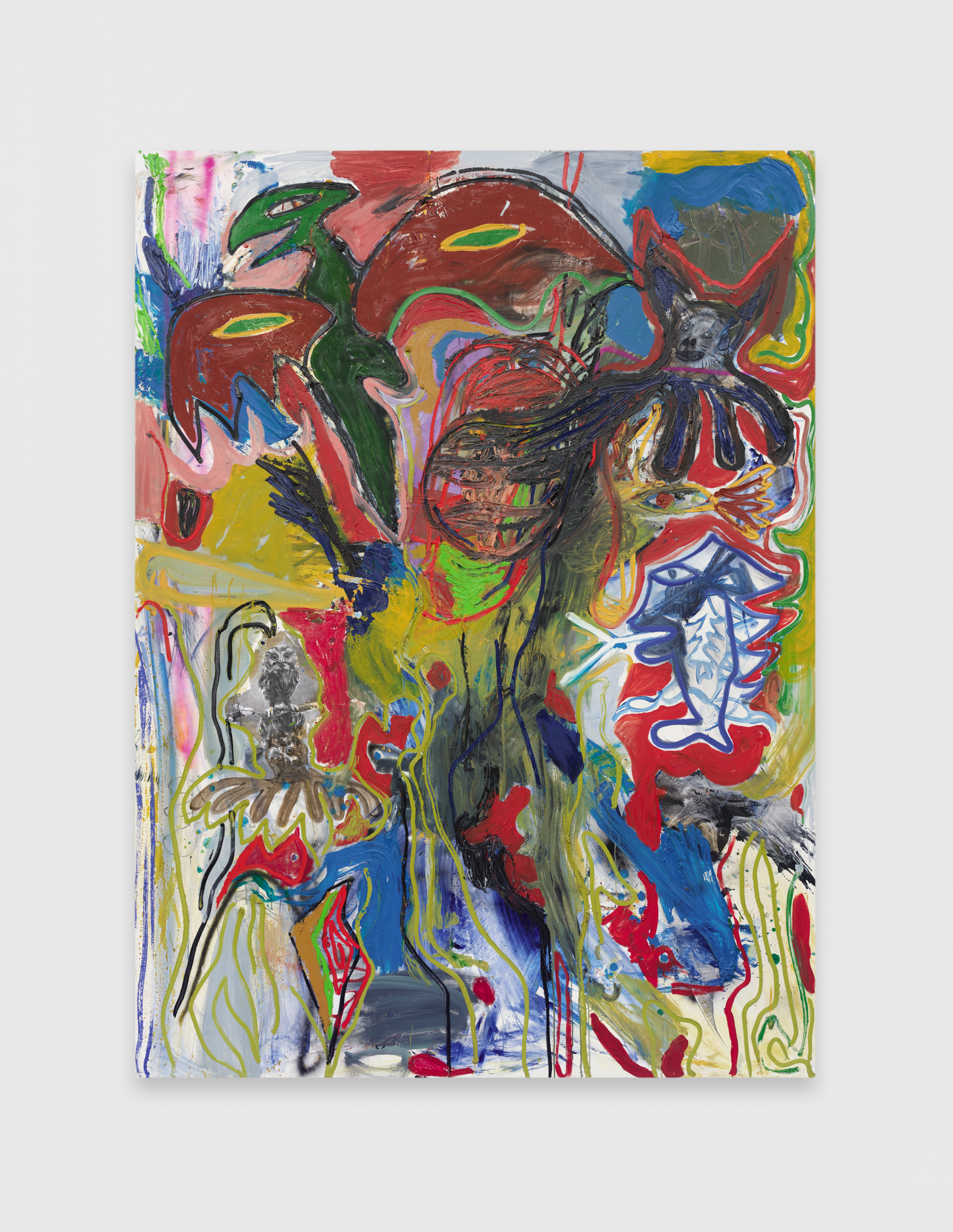 Bill Saylor, Strange Powers, 2015, Photo copy, oil, and spray paint on canvas, 87h x 64w in.