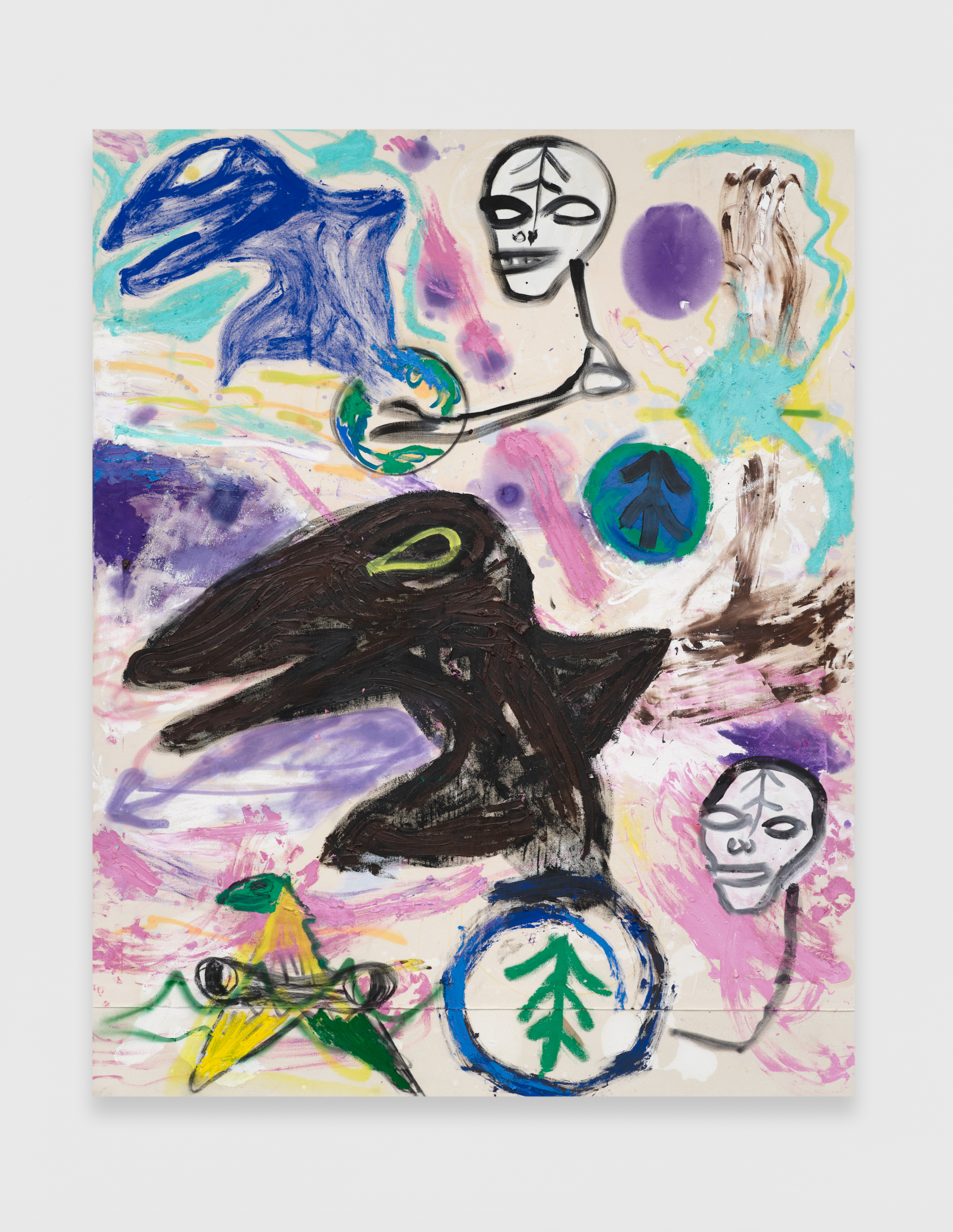 Bill Saylor, The Big Seed, 2020, Oil, charcoal, and spray paint on canvas, 84h x 66w in.
