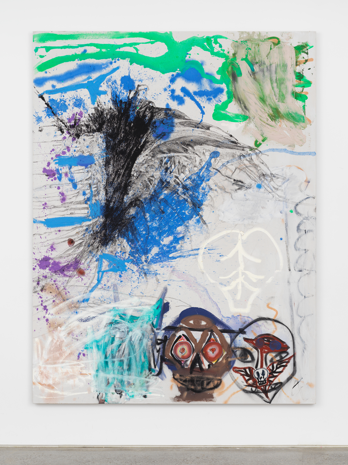Bill Saylor, Double Overhead, 2018, oil, charcoal, Flashe, and spray paint on canvas, 84h x 64w in.