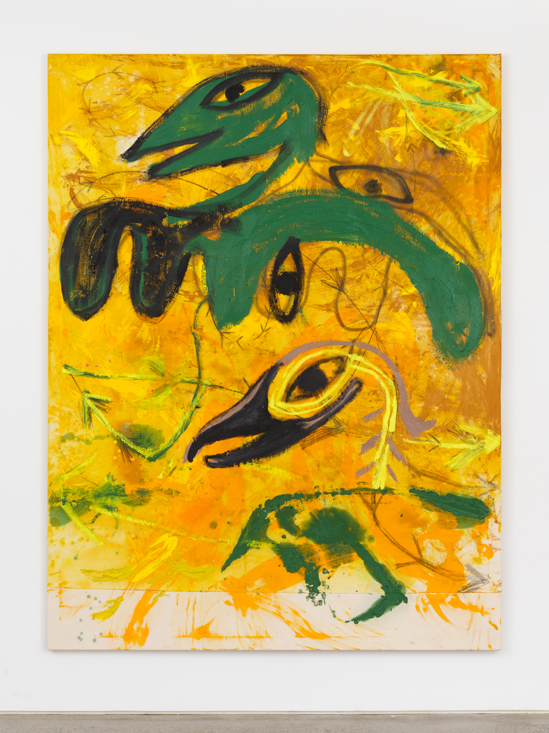 Bill Saylor, Breakers Gold, 2019, oil, spray paint, graphite, and Flashe on canvas, 84h x 64w in.