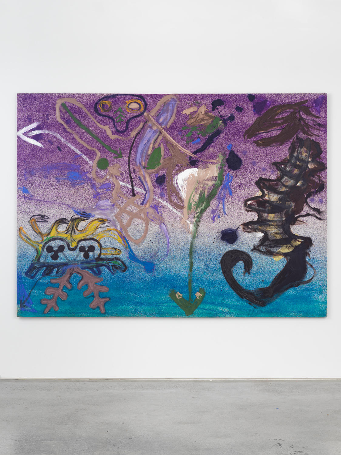 Bill Saylor, Cly-Fy, 2019, oil, spray paint, and Flashe on canvas, 74h x 104w in.
