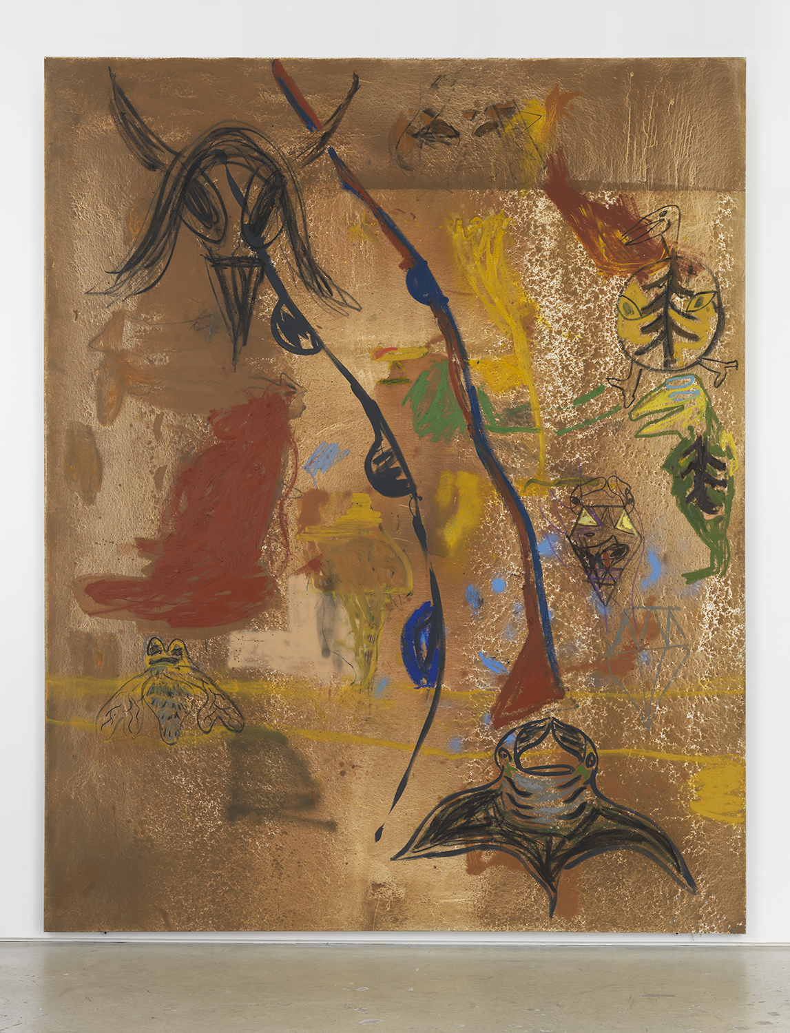 Bill Saylor, Holon, 2017, oil, flashe, spray paint, oil stick, graphite and charcoal on canvas, 120h x 96w x 1.13d in.