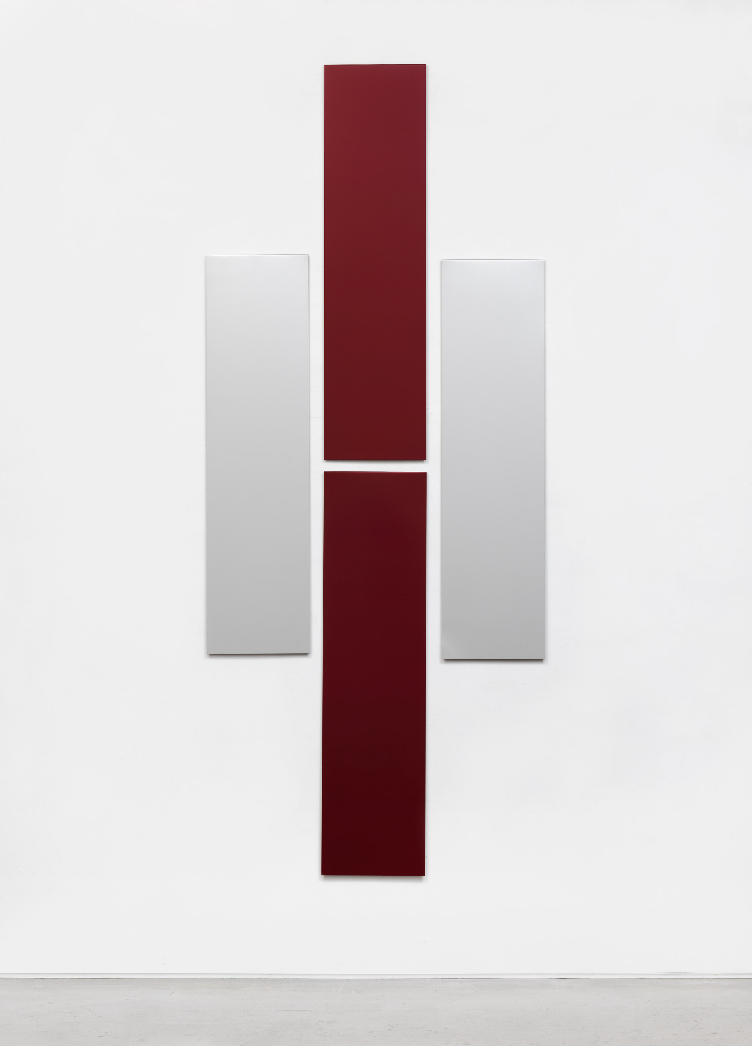 Don Dudley, Untitled (Aluminum Module), 1973-2018, acrylic lacquer on aluminum, each module 46.75h x 12w in; overall 96h x 40w in.