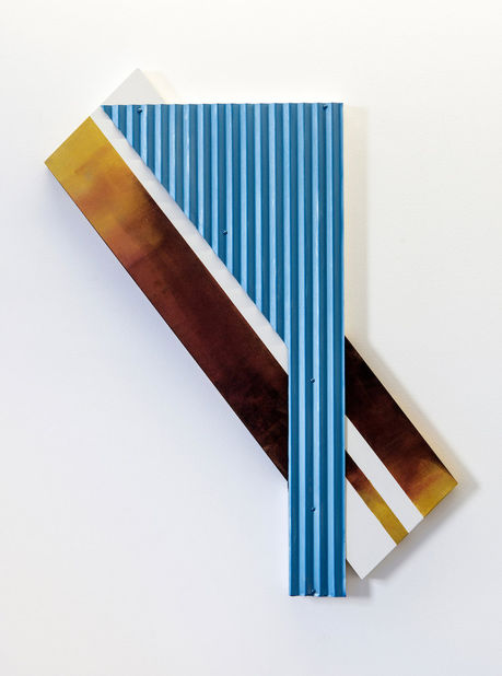 Don Dudley, #10, 2014, acrylic on plywood, corrugated steel, 49h x 31w x 2d in.