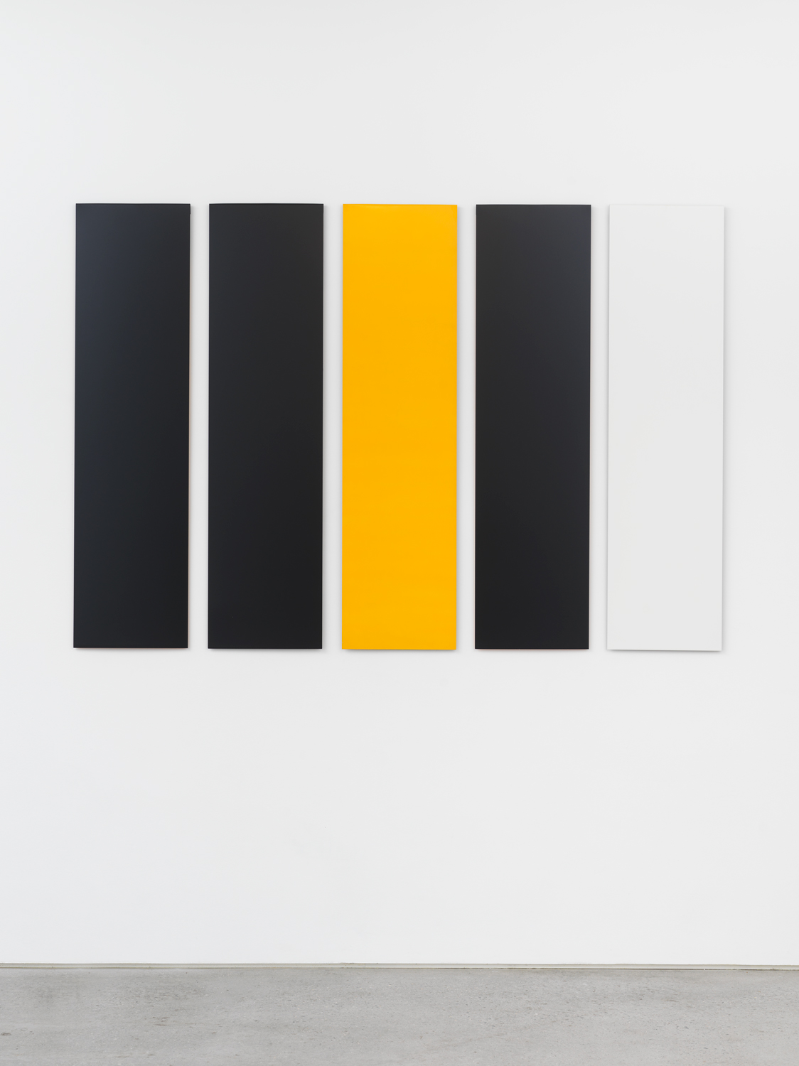 Don Dudley, Untitled (Aluminum Module), 1974/2019, Acrylic lacquer on aluminum, each module 46 3/4 x 12 in., overall 46.75 x 68 in.