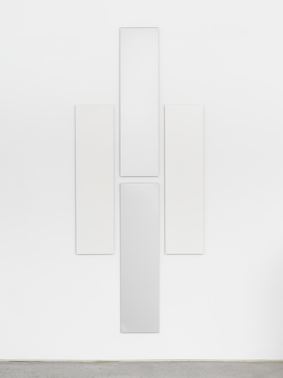 Don Dudley, Untitled (Aluminum Module), 1974/2019, Acrylic lacquer on aluminum, each module 46 3/4 x 12 in., overall 95.5 x 40 in.