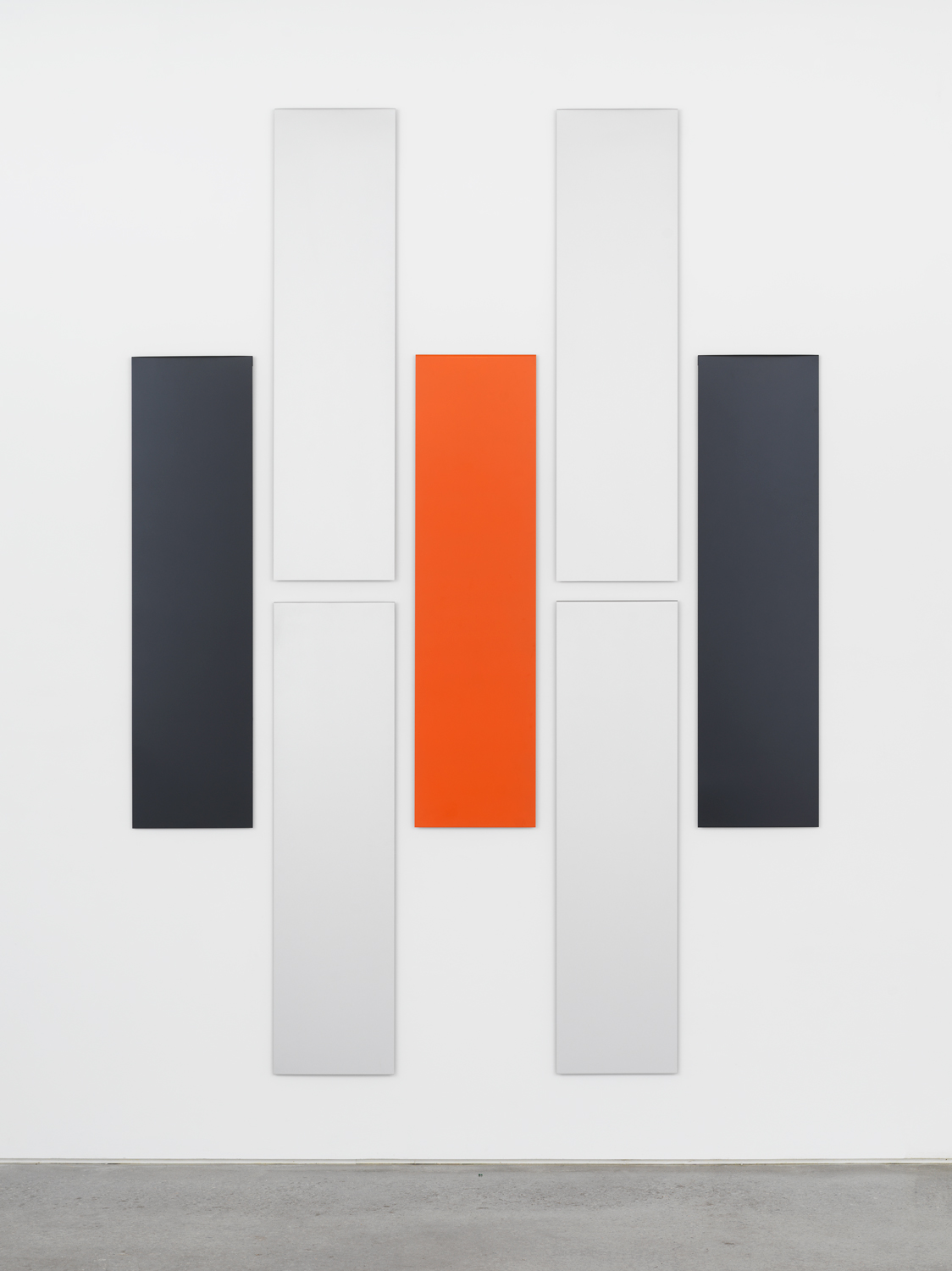 Don Dudley, Untitled (Aluminum Module), 1974-2019, acrylic lacquer on aluminum, each module 46.75h x 12w in; overall 95.5h x 68w in.