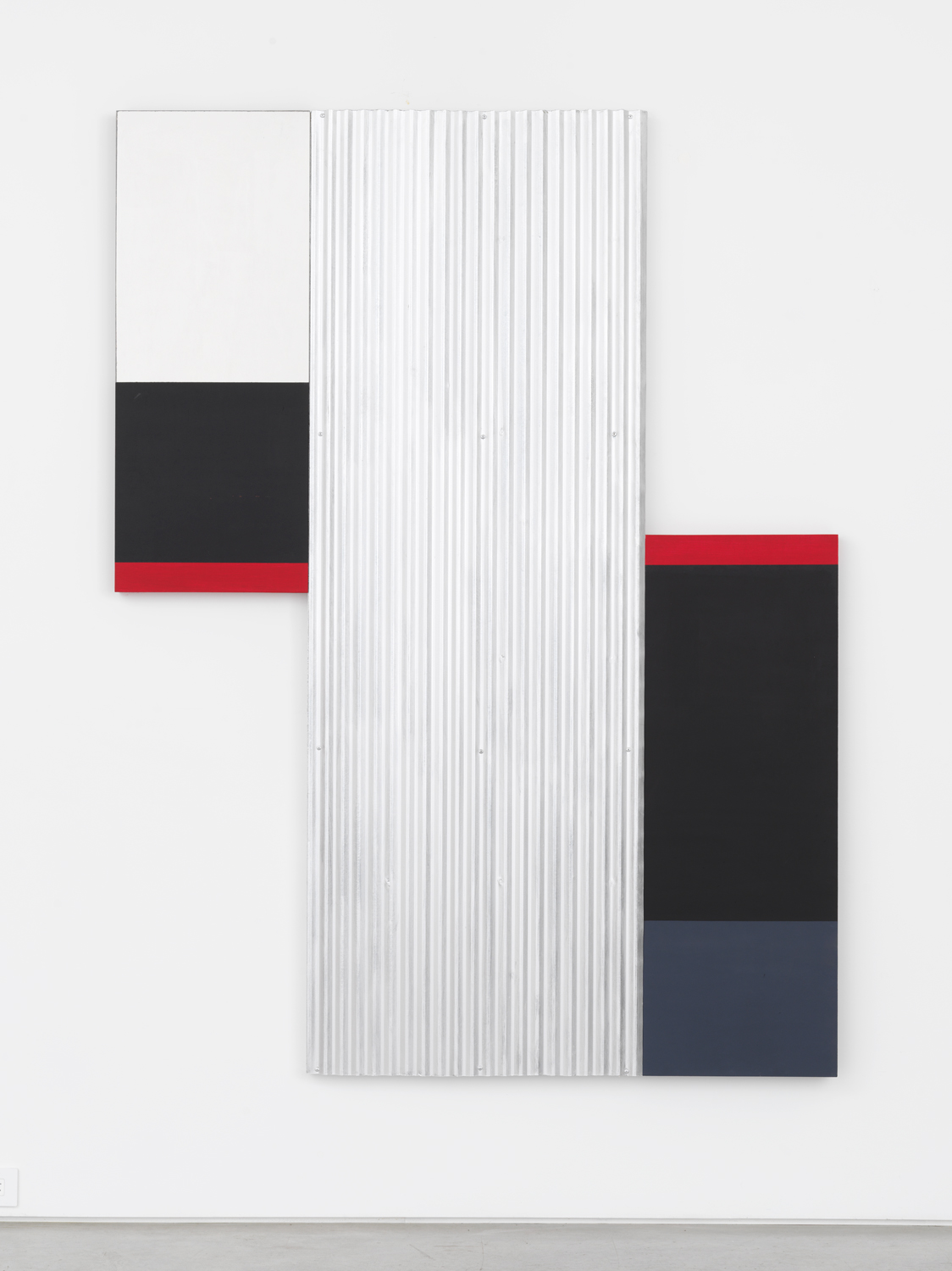 Don Dudley, XVIII, 2014-15, oil-based aluminum enamel and acrylic on birch plywood and corrugated metal, 74.50h x 56w x 2d in.