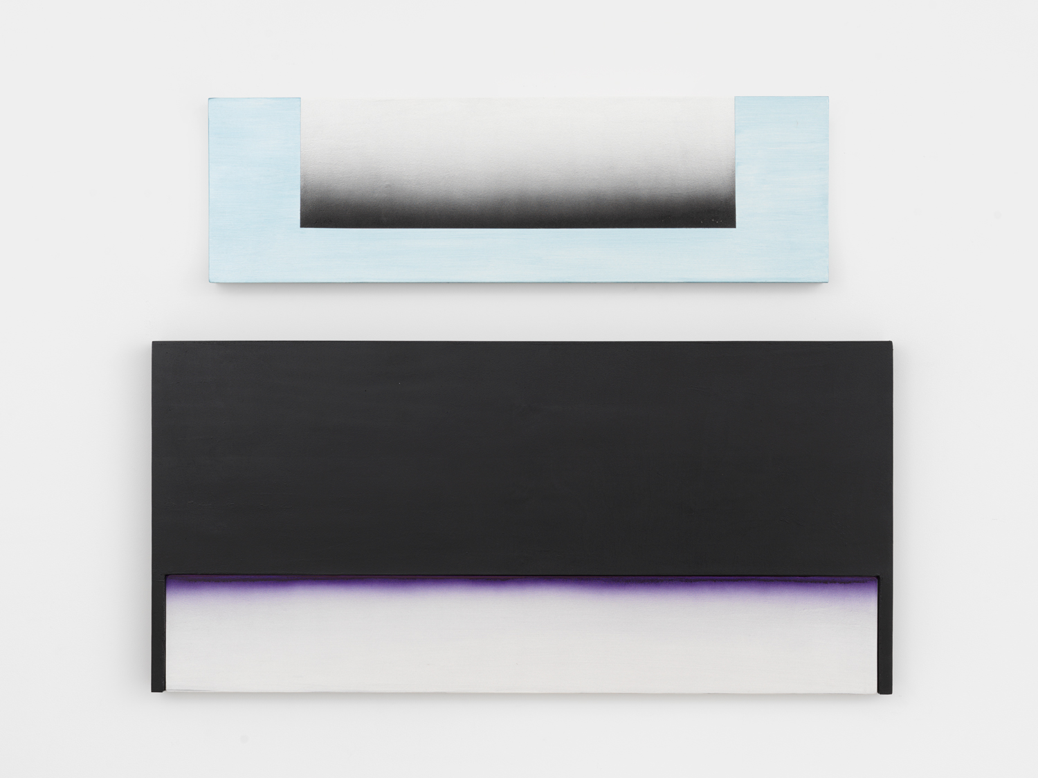 Don Dudley, LVI, 2016, oil-based aluminum enamel and acrylic on birch plywood, 31h x 40w x 19d in.