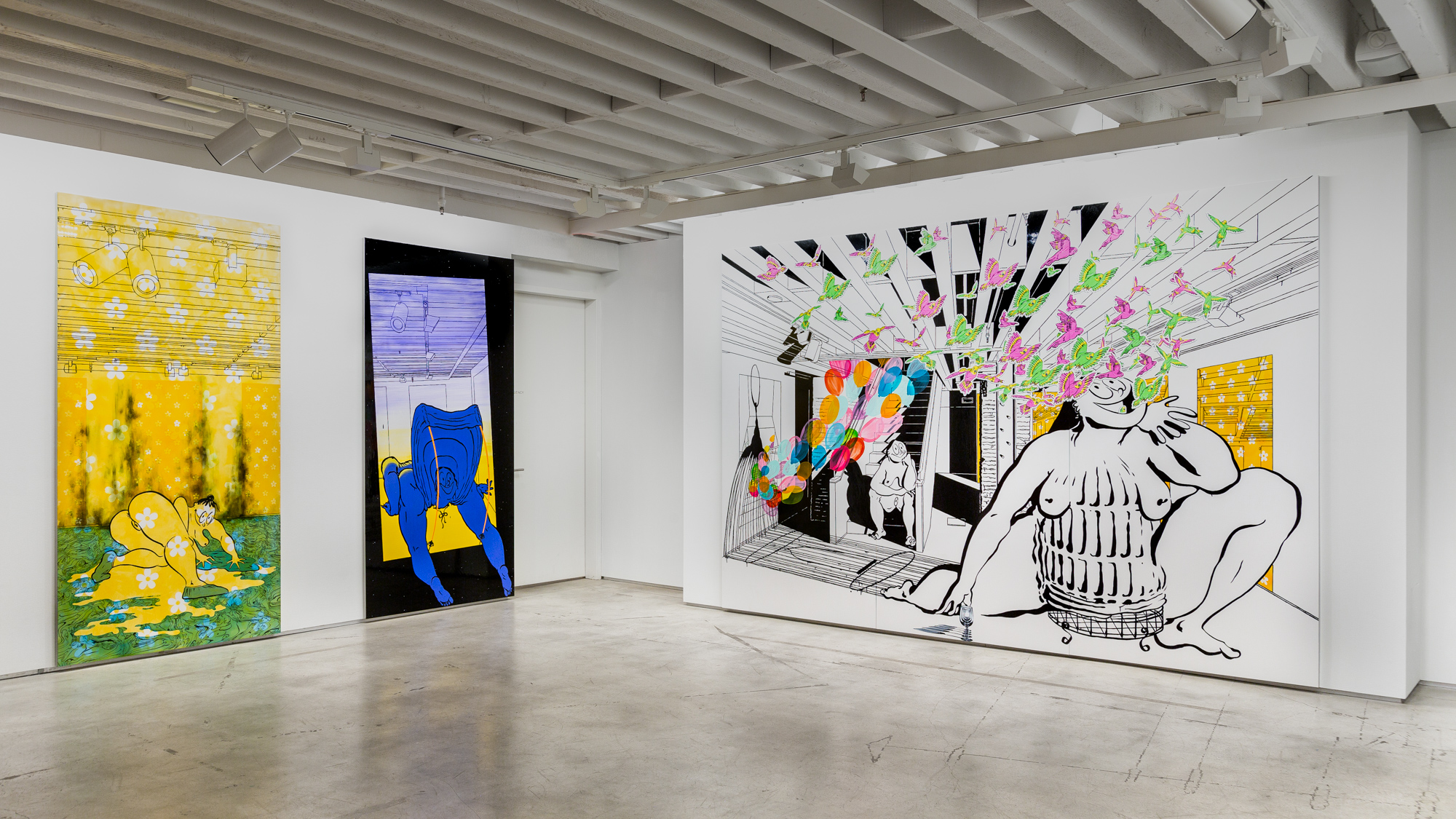 Installation view, Ebecho Muslimova: Scenes in the Sublevel, The Drawing Center, New York, NY, 2021. Photo by Daniel Terna.