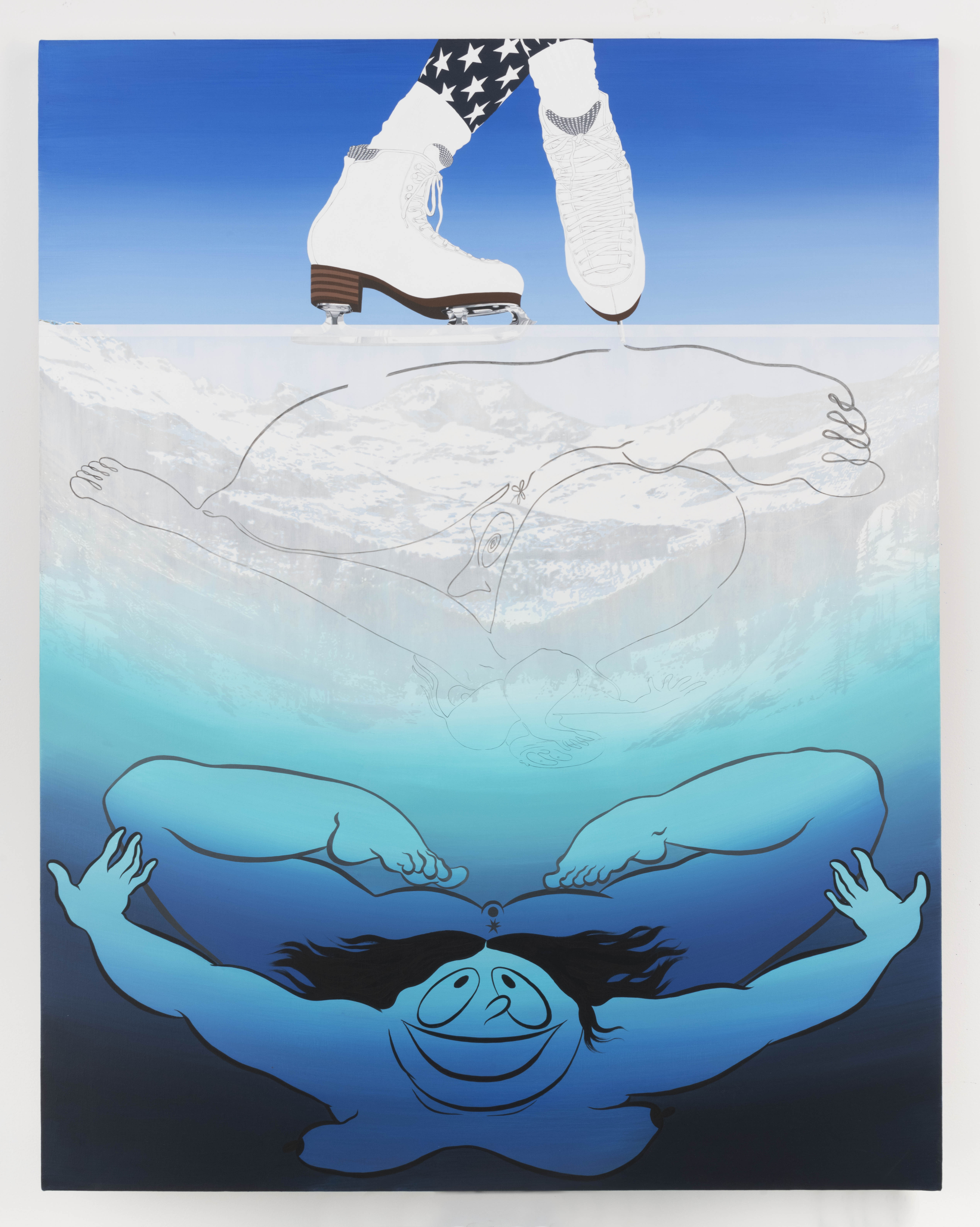 Ebecho Muslimova, Fatebe Thin Ice Skating, 2018, acrylic and oil on canvas, 54h x 41.75w in.