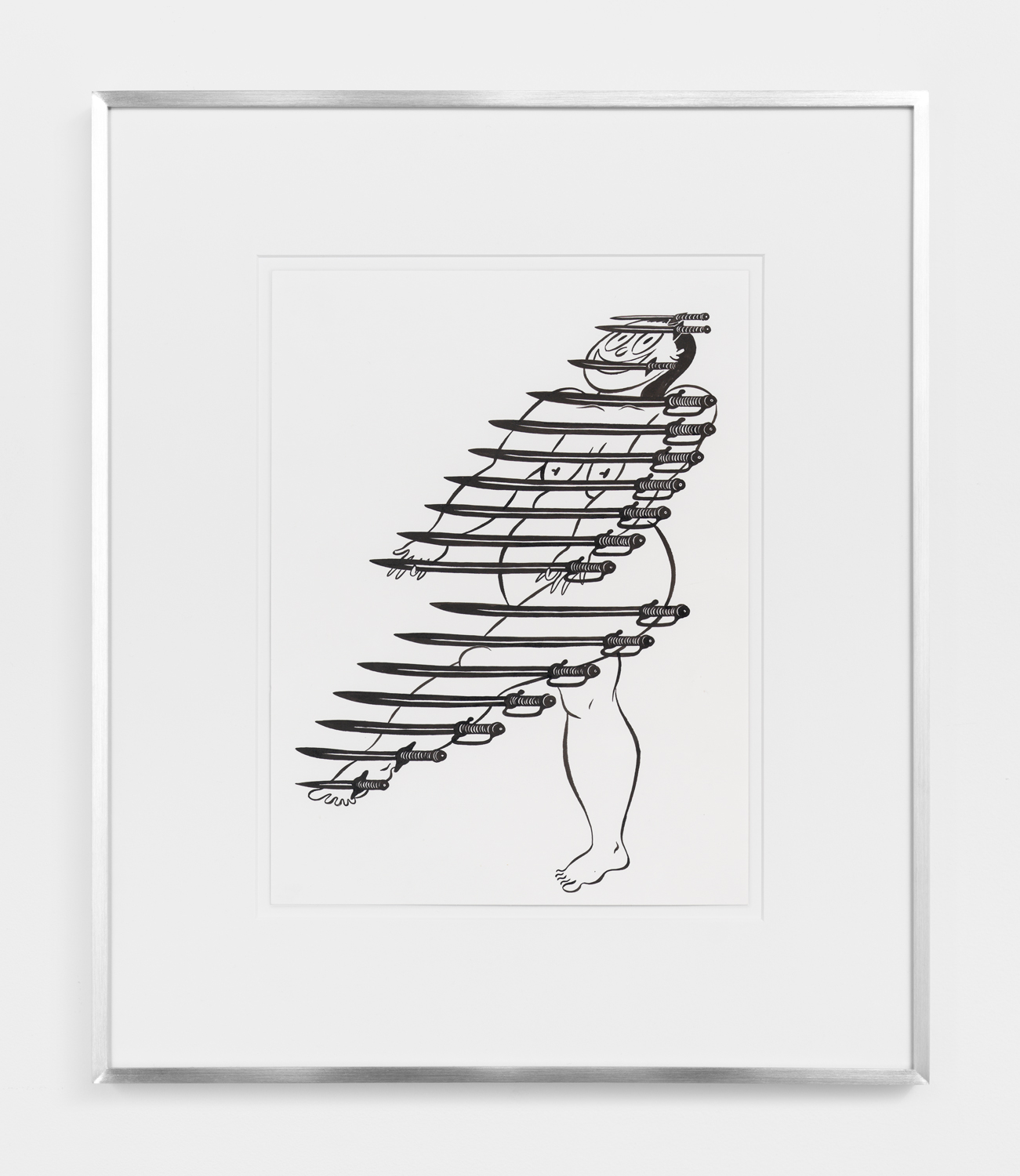 Ebecho Muslimova, Fatebe Arms Display, 2017, ink on paper, 12h x 9w in.