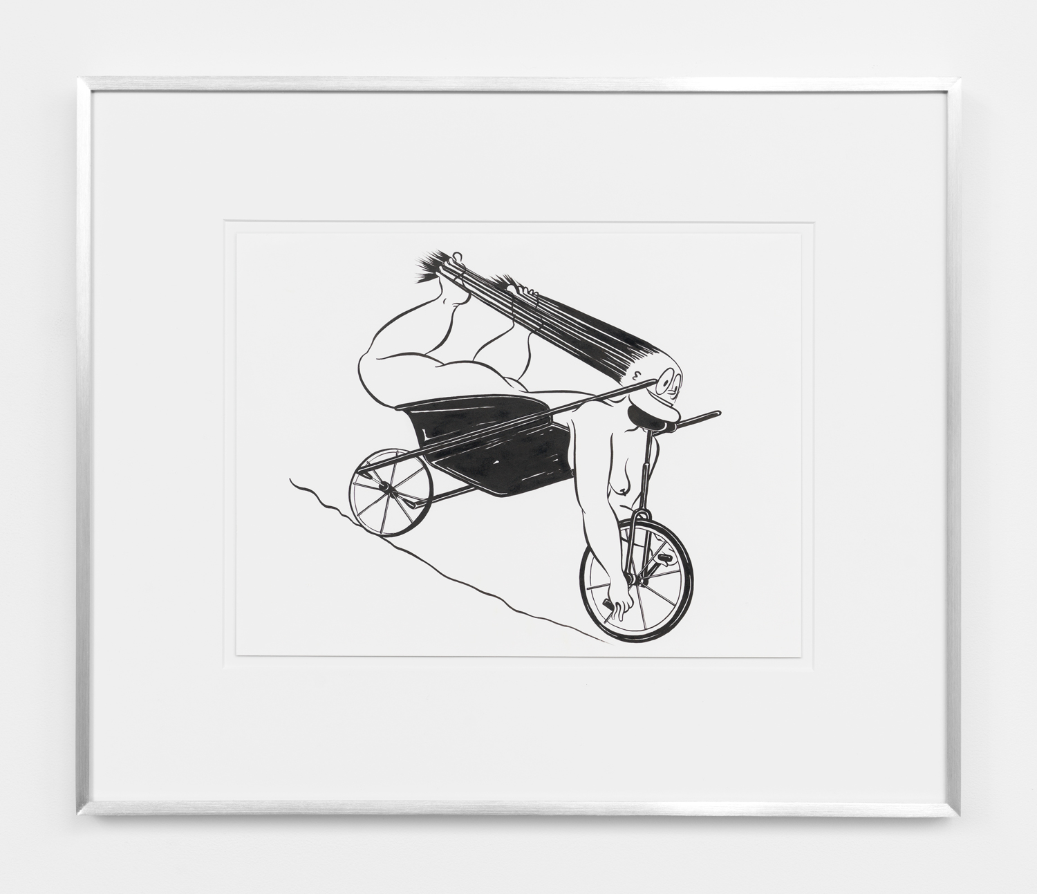 Ebecho Muslimova, Fatebe Wheelbarrow Unicycle, 2017, ink on paper, 9h x 12w in.