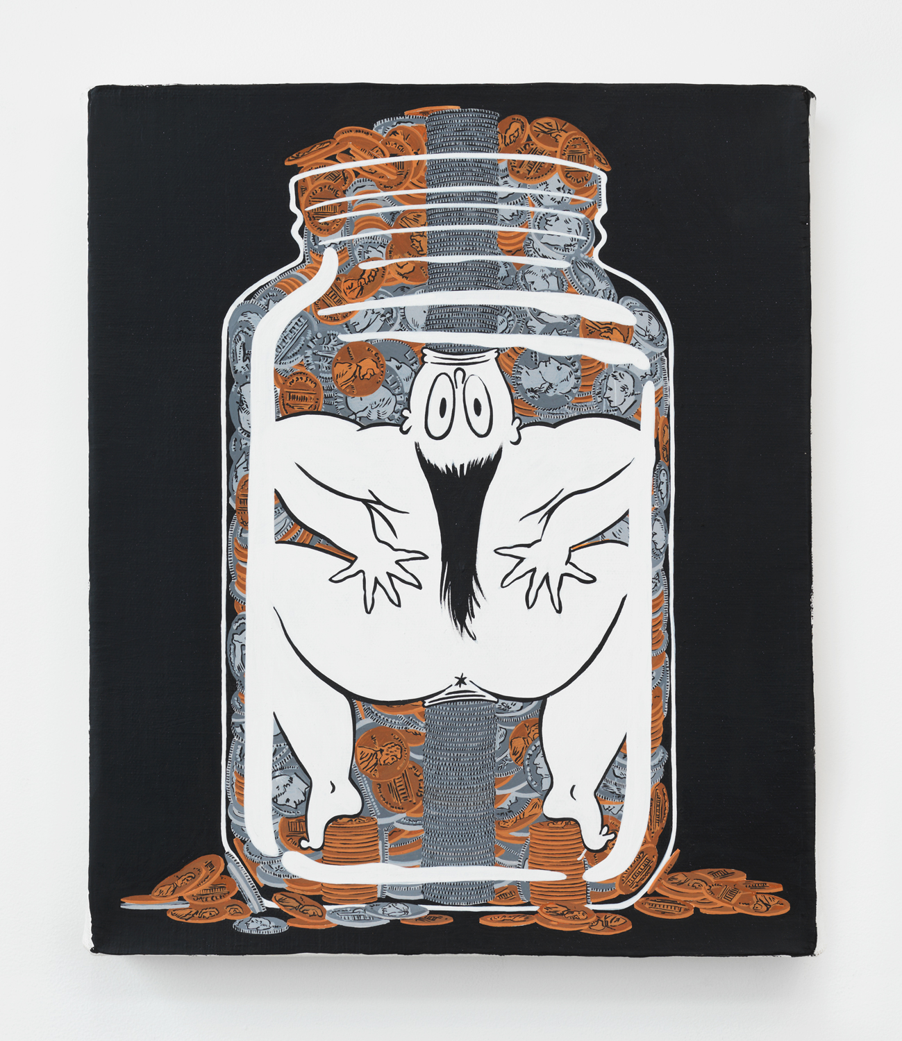 Ebecho Muslimova, Untitled (Jar), 2017, acrylic and gouache on canvas, 12h x 10w in.