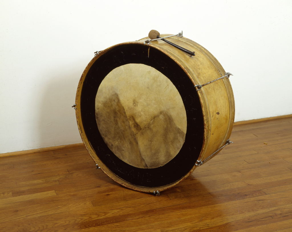 Jennifer Bolande, Central and Mountain, 1985, Bass drum, with chalk pastel, and mallet, 24 dia x 15d in.