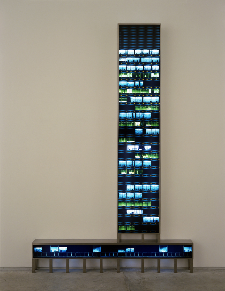 Jennifer Bolande, Appliance House, 1999, duratrans photos, stainless steel lightboxes, 91h x 59w x 5d in.