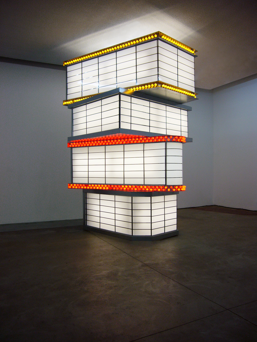 Jennifer Bolande, Tower of Movie Marquees, 2010, Steel, stainless steel, plexiglass, electrical components, and bulbs, 186h x 108w x 60d in.