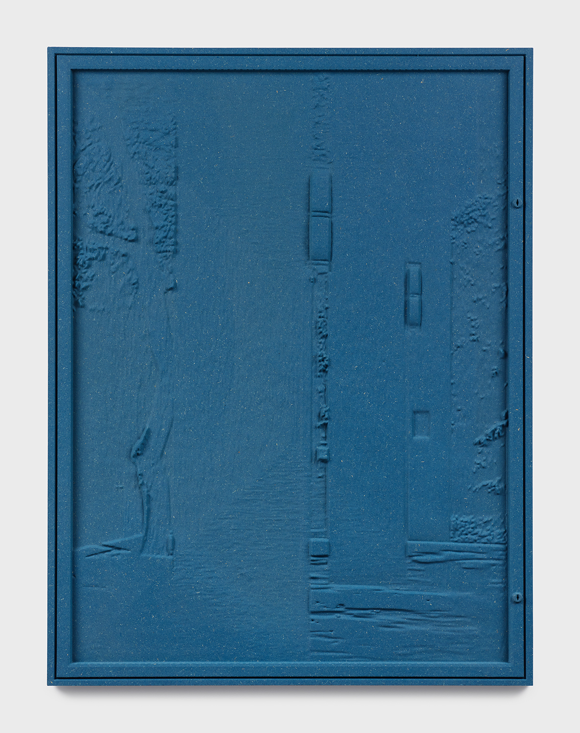 Jennifer Bolande, Bulletin Board (with tree and columns), 2018, Pigmented high density composite, 34.25h x 26w x 1.50d in