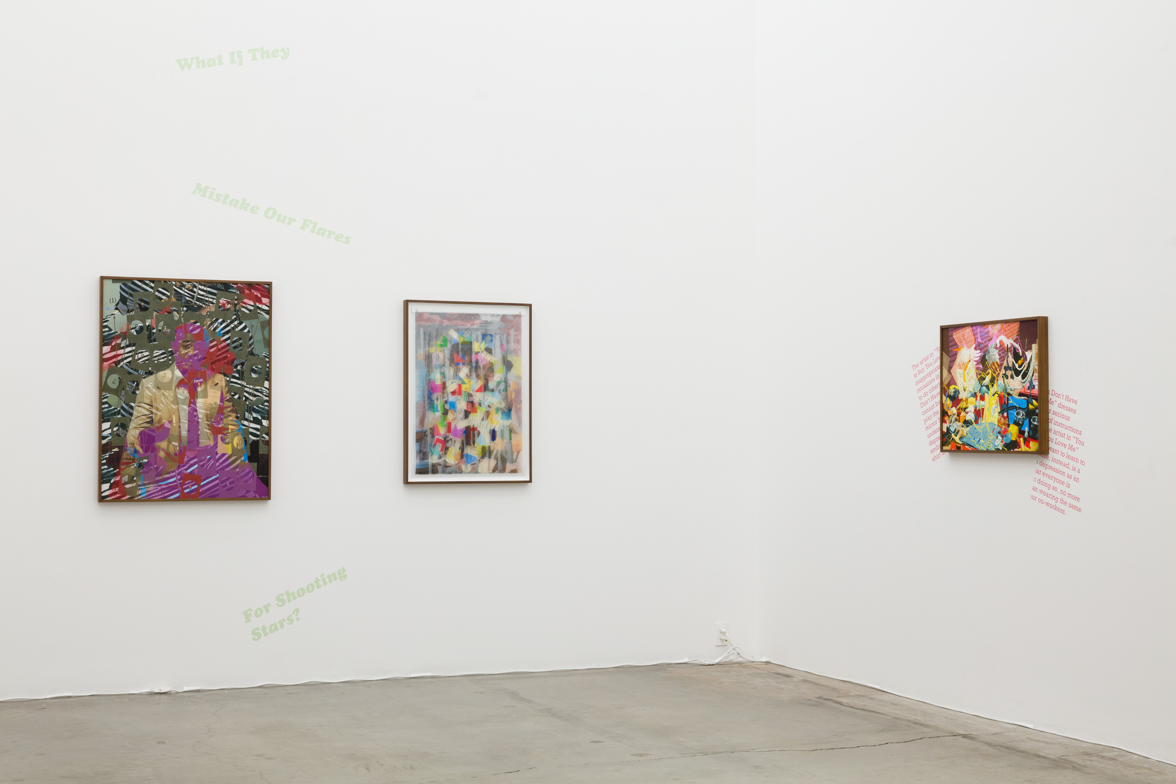 Installation view, Jibade-Khalil Huffman: You Don't Have to Say You Love Me, Anat Ebgi, Los Angeles, CA, 2020. Photography by Michael Underwood.