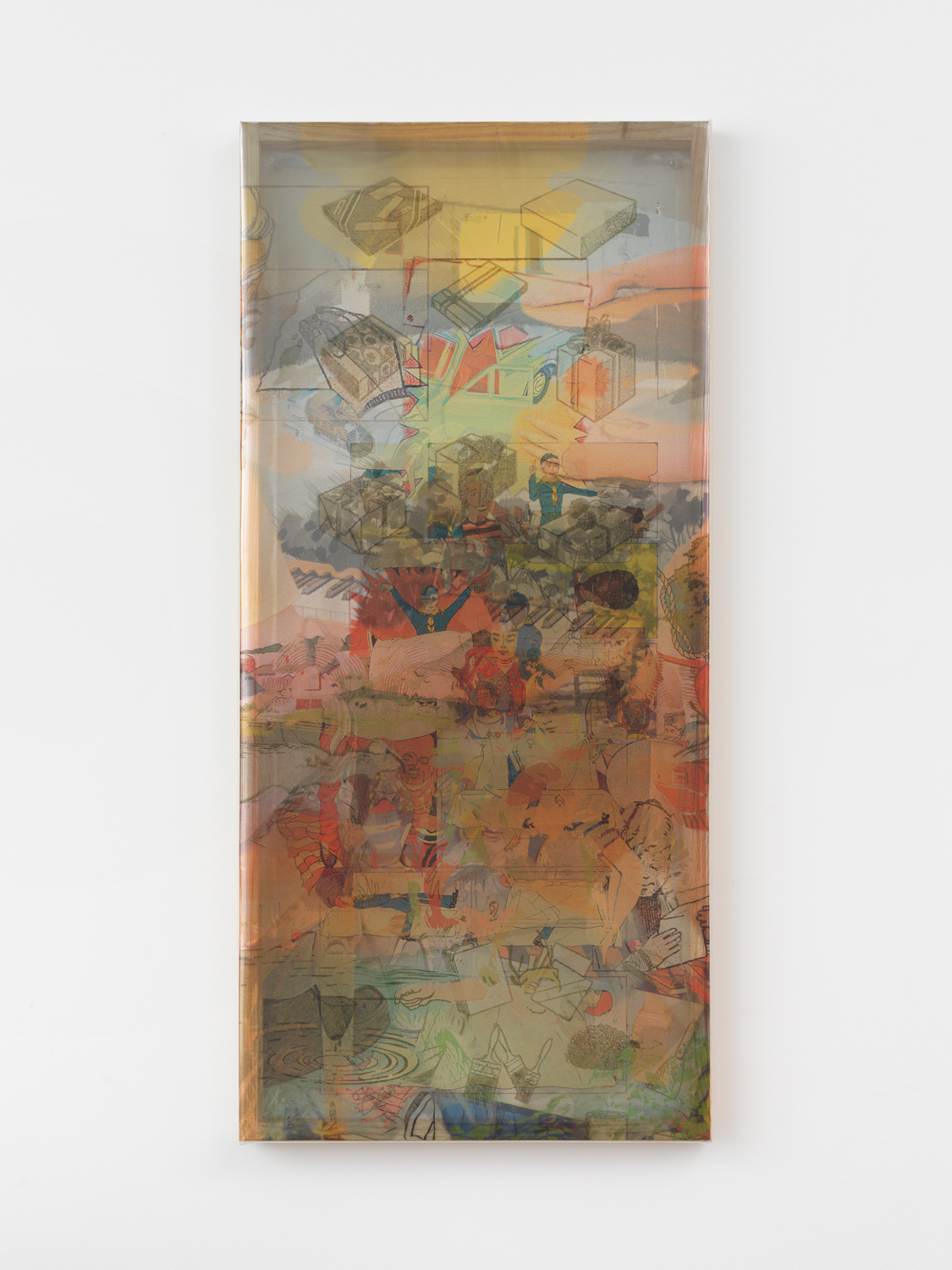 Jibade-Khalil Huffman, Untitled (Hover), 2020, Inkjet on transparencies, looping video, 41.13h x 19w x 1.50d in