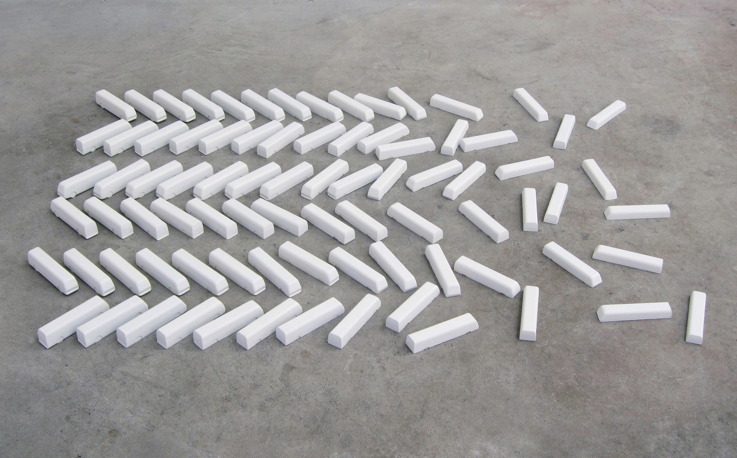 Nathaniel Robinson, Fleet, 2011, wood and paint, 1h x 46w x 35d in.